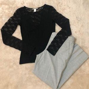 H&M Black Lace Long Sleeve Top